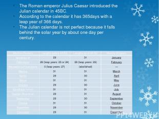 The Roman emperor Julius Caesar introduced the Julian calendar in 45BC. Accordin