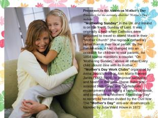 """Precursors to the American Mother's Day Precedents for the currently observed """"M"""