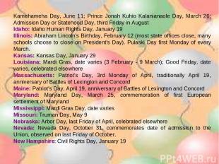 Kamehameha Day, June 11; Prince Jonah Kuhio Kalanianaole Day, March 26; Admissio