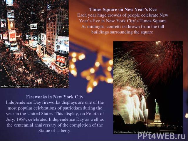 Times Square on New Year's Eve Each year huge crowds of people celebrate New Year's Eve in New York City's Times Square. At midnight, confetti is thrown from the tall buildings surrounding the square Fireworks in New York City Independence Day firew…