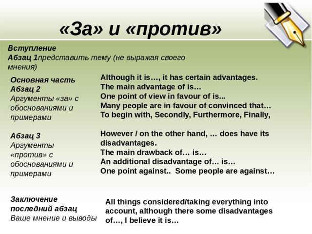 «За» и «против» Вступление Абзац 1представить тему (не выражая своего мнения) Основная часть Абзац 2 Аргументы «за» с обоснованиями и примерами Абзац 3 Аргументы «против» с обоснованиями и примерами Заключение последний абзац Ваше мнение и выводы Al…