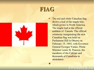 FIAG The red and white Canadian flag shows a leaf of the maple tree, which grows
