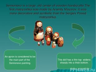 Semionovo is a large, old center of wooden handicrafts.The first matryoshka was