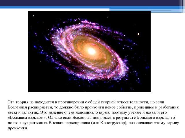 Эта теория не находится в противоречии с общей теорией относительности, но если Вселенная расширяется, то должно было произойти некое событие, приведшее к разбеганию звезд и галактик. Это явление очень напоминало взрыв, поэтому ученые и назвали его …