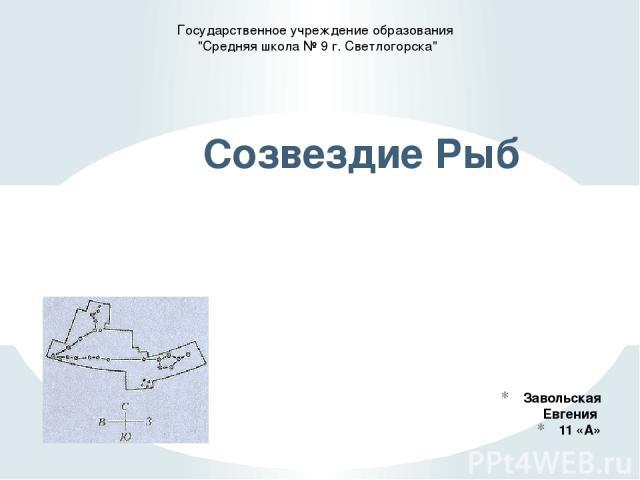 Завольская Евгения 11 «А» Созвездие Рыб Государственное учреждение образования