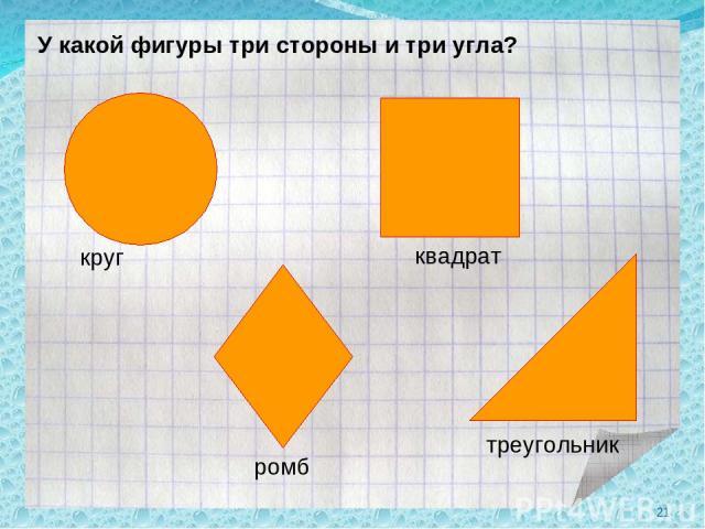 У какой фигуры три стороны и три угла? круг ромб квадрат треугольник *