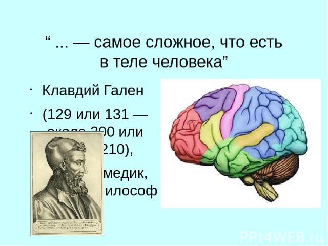 """""""... — самое сложное, что есть втеле человека"""" Клавдий Гален (129 или 131— около 200 или около 210), римский медик, хирург и философ"""