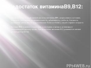 Недостаток витаминаВ9,В12: Признаки недостатка фолиевой кислоты (витамина B9): д