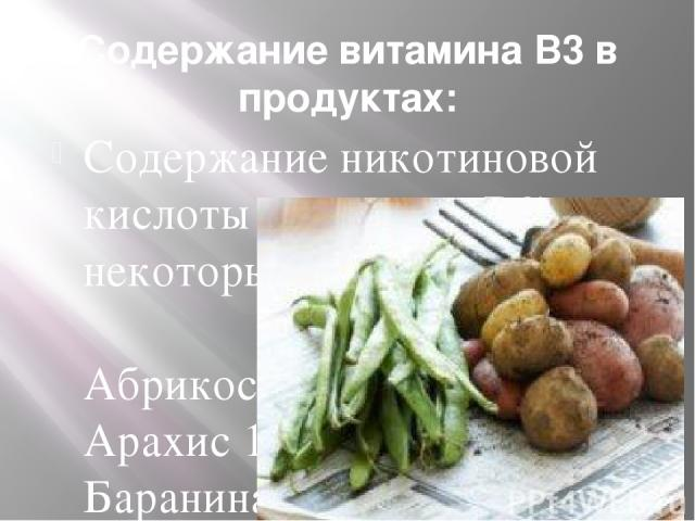 Содержание витамина В3 в продуктах: Содержание никотиновой кислоты (Витамина В3) в некоторых продуктах Абрикосы сухие 3,3 Арахис 16,2 Баранина 6,6 Говядина 4,5 Горох свежий или сухой 2,7 - 3,1 Дрожжи пивные сухие 36,2 Дрожжи хлебные сухие 28,2 Злаки…