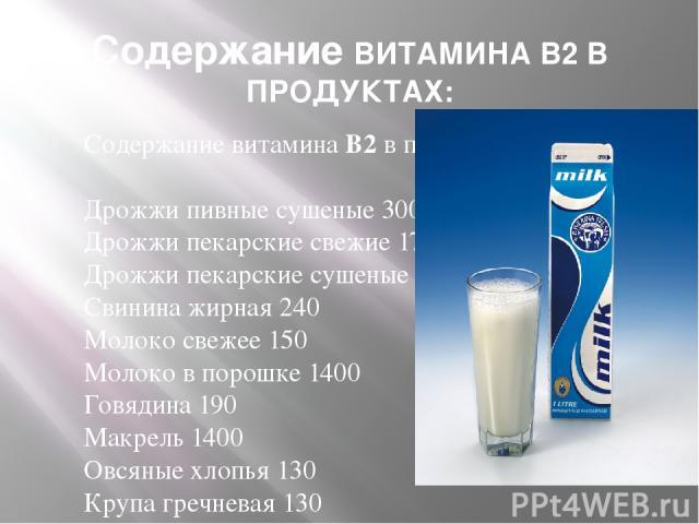 Содержание ВИТАМИНА В2 В ПРОДУКТАХ: Содержание витамина B2 в продуктах питания: Дрожжи пивные сушеные 300 - 200 Дрожжи пекарские свежие 1700 Дрожжи пекарские сушеные 3500 - 48 Свинина жирная 240 Молоко свежее 150 Молоко в порошке 1400 Говядина 190 М…