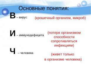 Основные понятия: В – вирус И – иммунодефицита Ч – человека (крошечный организм,
