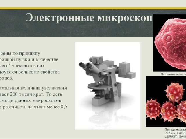 Электронные микроскопы Построены по принципу электронной пушки и в качестве