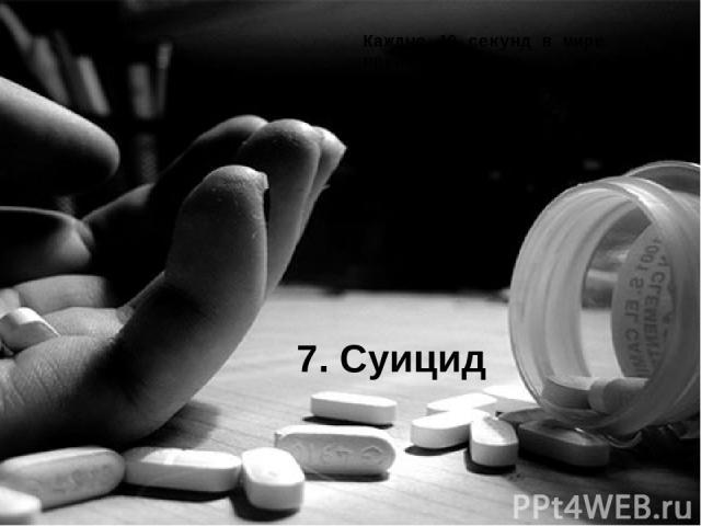 7. Суицид Каждые 40 секунд в мире происходит одно самоубийство, а каждый год преднамеренно лишают себя жизни примерно 1 миллион человек. Шанс смерти: 1 к 121.