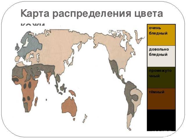 Карта распределения цвета кожи очень бледный довольно бледный промежуточный тёмный очень тёмный