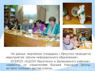 На разных творческих площадках г.Иркутска проводятся мероприятия «Школы неформал