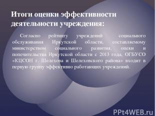 Согласно рейтингу учреждений социального обслуживания Иркутской области, составл